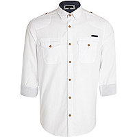 White cross hatch military shirt