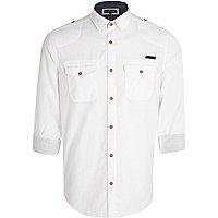 White cross hatch military shirt