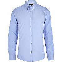 Blue poplin long sleeve shirt