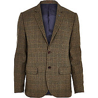 Green check wool-blend slim suit jacket