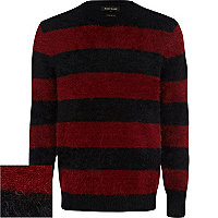 Black fluffy stripe jumper