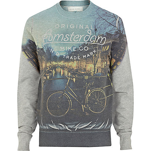 Grey Amsterdam sublimation print sweatshirt