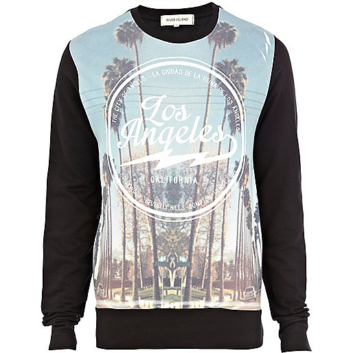 Black Los Angeles print sweatshirt