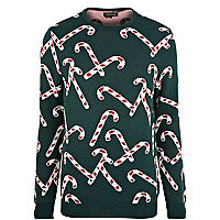 Green Christmas candy cane jumper
