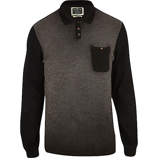 Grey Holloway Road oil wash polo shirt
