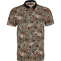 Ecru floral polo shirt