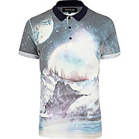 White cosmic print polo shirt