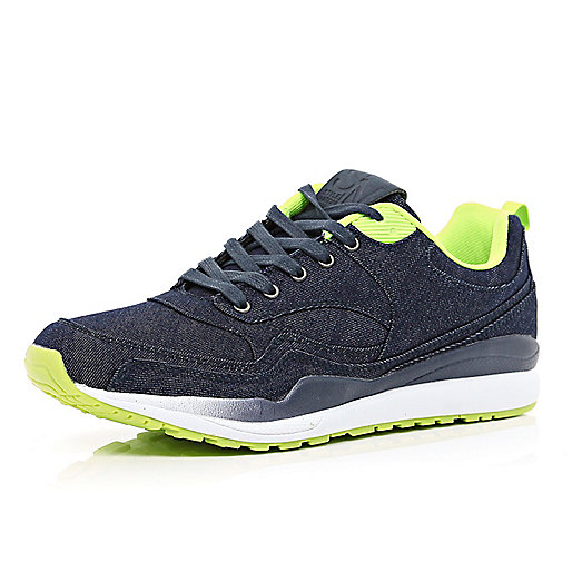 Navy denim contrast trim trainers