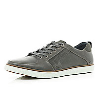Grey contrast panel trainers