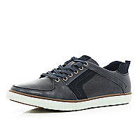 Navy blue contrast panel trainers