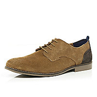 Brown suede contrast panel shoes