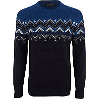 Navy fluffy triangle pattern jumper