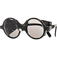 Black T. Lipop leather trim round sunglasses