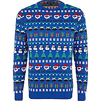 Blue ho ho ho Christmas fair isle jumper