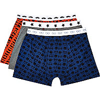 Blue moustache print boxers pack