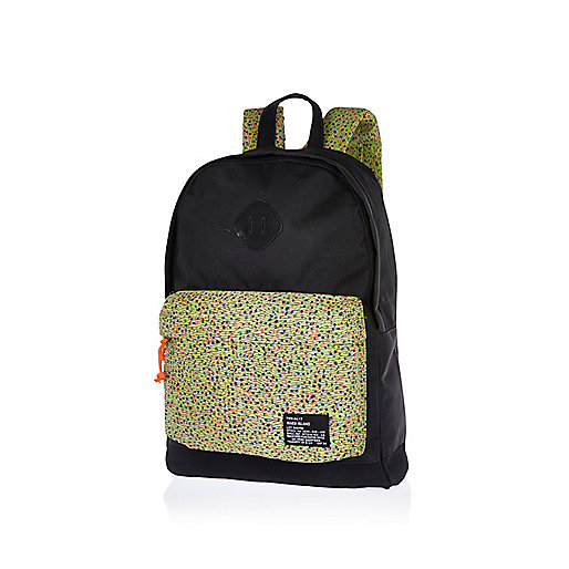 Black printed colour block rucksack