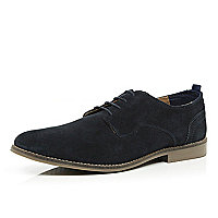 Navy suede contrast panel shoes