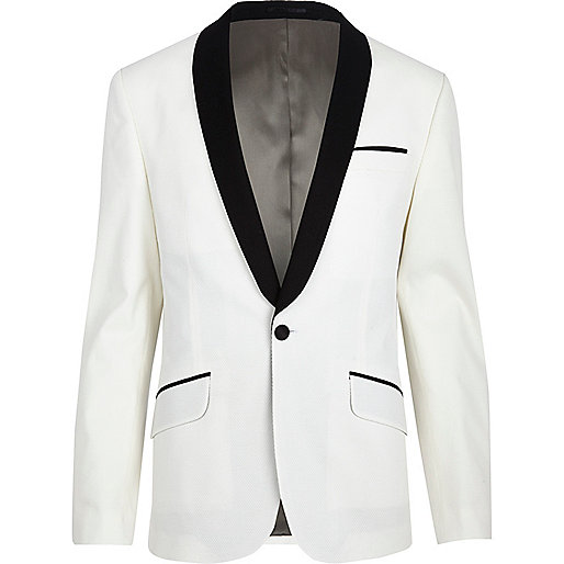 White two-tone tux blazer