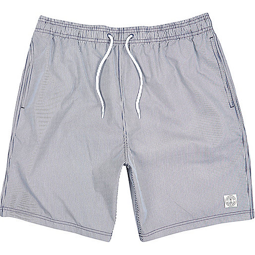 Navy thin stripe mid length swim shorts