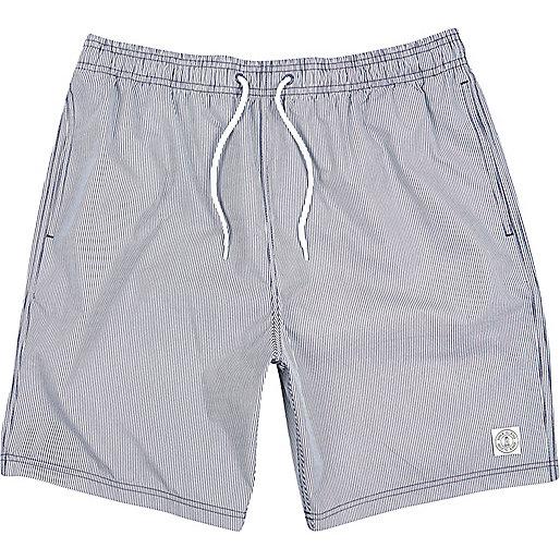 Navy thin stripe mid length swim shorts