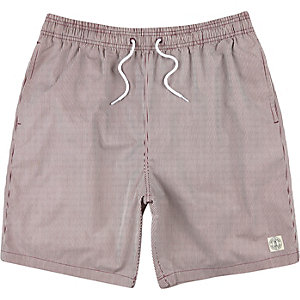 Dark red thin stripe mid length swim trunks