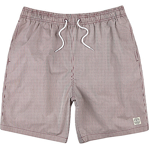 Dark red thin stripe mid length swim shorts