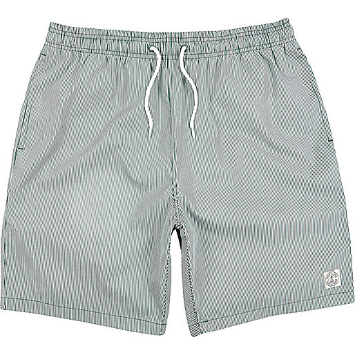 Green stripe mid length swim shorts