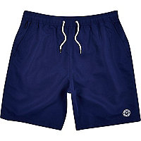 Navy blue mid length swim shorts