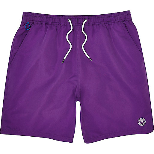 Purple mid length swim shorts
