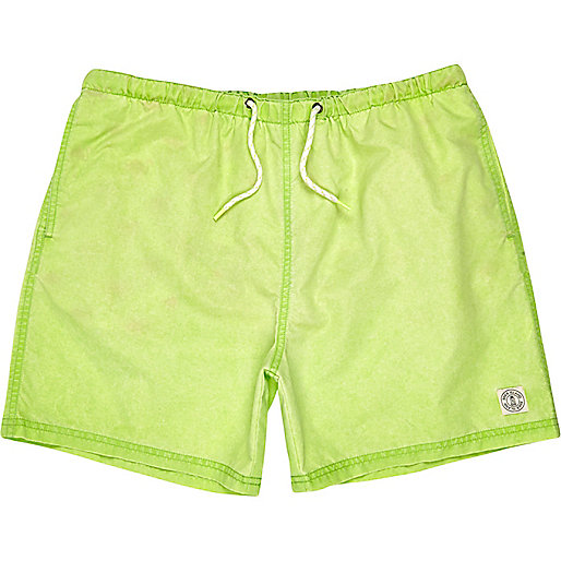 Bright green short swim shorts