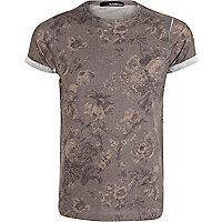 Grey floral sublimation print t-shirt