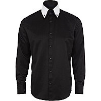 Black contrast double collar shirt