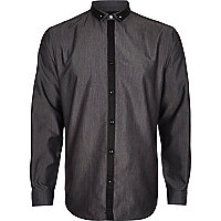 Grey pin collar shirt