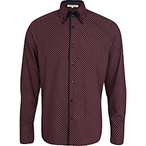 Purple ditsy diamond double collar shirt