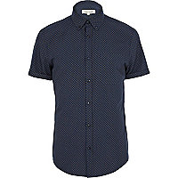 Navy ditsy diamond print short sleeve shirt