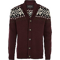 Dark red patterned shoulder cardigan