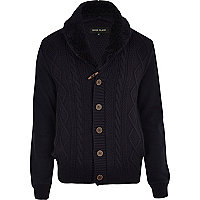 Navy cable knit borg collar cardigan