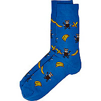 Blue monkey and banana print socks