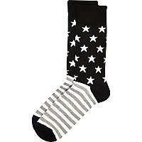 Black stars and stripes socks
