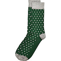 Green polka dot ankle socks