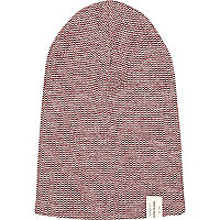 Dark red twist knit beanie hat