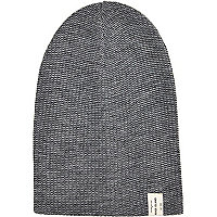 Grey twist knit beanie hat