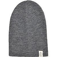 Grey twist knit beanie hat