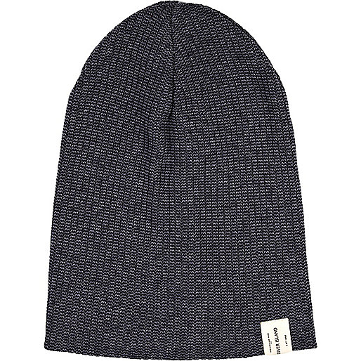 Navy twist knit beanie hat