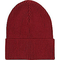Dark red rib beanie hat