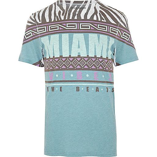 White Miami vibes print t-shirt