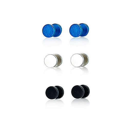 Blue metallic plug earrings pack