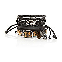 Black and leopard print mixed cuff pack