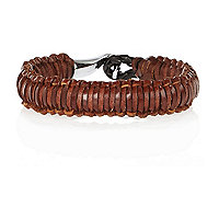 Brown leather woven cuff