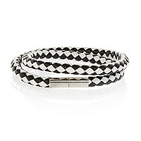Black and white leather woven bracelet